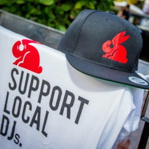 Red Rabbit Hat & Support Local DJ's (White) T-Shirt Combo Pack